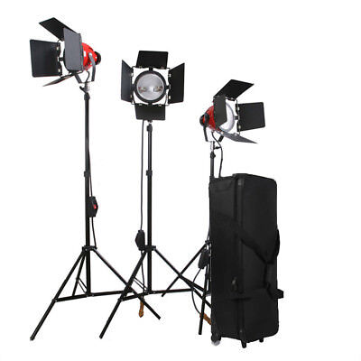 HWASTUDIO ® 2400W Continuous Red Head Light 3 x 800w fly case wheels earthed