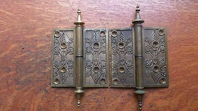 "Two Victorian Fancy Nouveau Antique Cast Brass Door Hinges 4.5"" - Rare 1869"