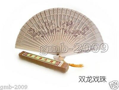 Asian Scented Sandalwood Hand Folding Fan Carved Dragon Loong Wedding Favor