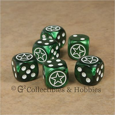 NEW 6 US Army Invasion Star Dice Set 16mm RPG War Game D6 WWII American Military