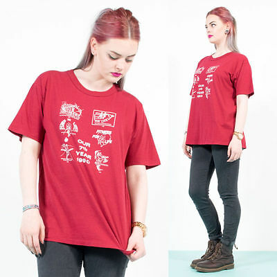 Vintage Fitness For Life Red Crew Neck Usa Graphic Print T-Shirt Top 16