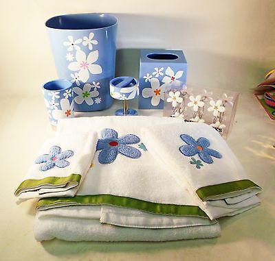 9 Piece Bloomers Bath Accessory Set - Shower Hooks, Dispenser, Towels,  Tumbler
