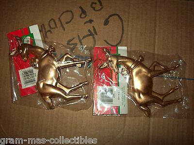 "Set Of 2 Ornaments Gold Colored Deer By Holiday Trim Santas World 4.5"" H X 3.5"""