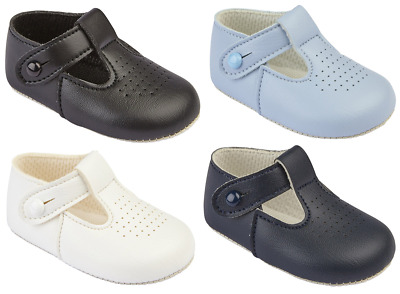 Baby shoes pram BAYPODS christening traditional T Bar EARLY DAYS boys