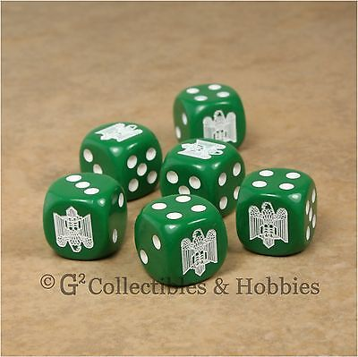 NEW 6 Italian Army Eagle Fasces Dice Set 16mm RPG War Game D6 WWII Fascist Italy