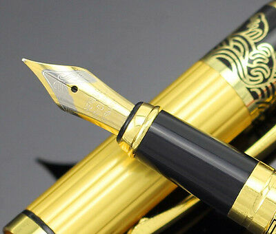 Luxury Gold  & black Stainless pens HERO 901 Medium Nib Fountain Pen gift