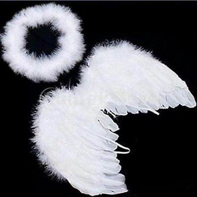 Baby Kids White Angel Wings Feather for Party Decoration And for Photo Prop B