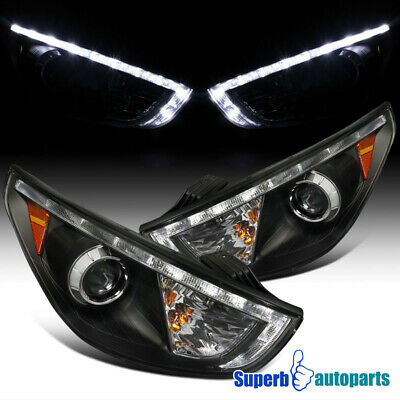For 2010-2012 Tucson Led DRL Projector Headlights Head Lamps Black SpecD Tuning