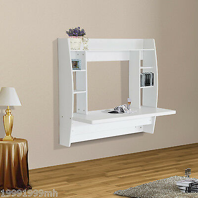 HOMCOM Floating Desk Wall Mounted Computer Table w/ Storage Home Furniture White