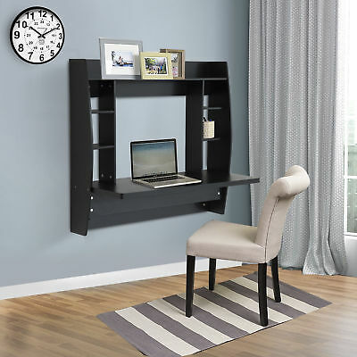 Wood Floating Desk Wall Mounted Computer Table w/ Storage Shelves Home Office