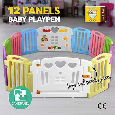12 Panel Interactive Baby Playpen Kids Toddler Plastic Gate Safety Lock Divider