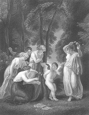 NUDE CUPID Boy Tied Up by PRETTY GIRLS FOREST MUSES ~ 1852 Art Print Engraving