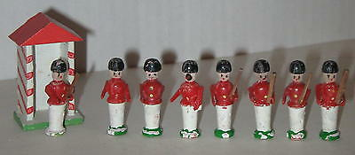 Set of 8 Wooden Soldiers & Guard House Made in East Germany