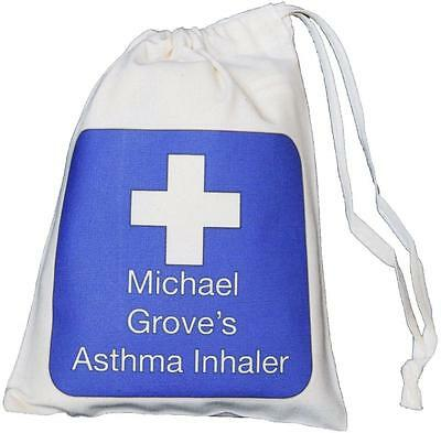 Personalised Blue Cross - Asthma Inhaler & Small Spacer bag - 14x20cm EMPTY