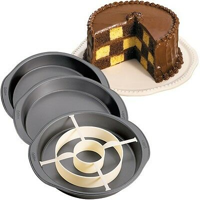 Wilton Checkerboard Cake Pan Set - 3 Non-Stick Steel Baking Tins & Divider