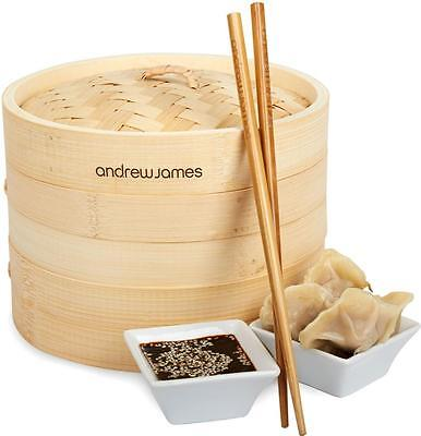 """Andrew James 8"""" Food Vegetable Bamboo Steamer + FREE Chopsticks & Dim Sum Papers"""
