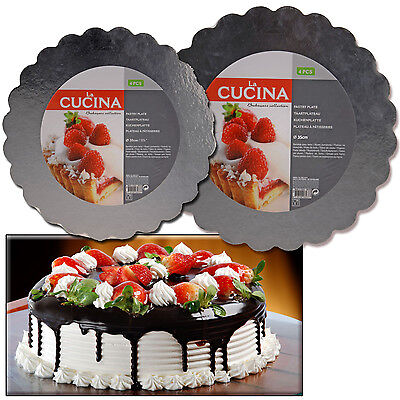 Set 4 Cake Silver Foil Board Laminated Grey Round Scalloped Baking Presentation