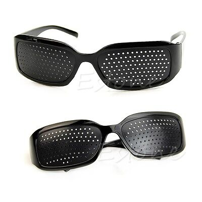 Unisex Eyesight Improve Glasses Stenopeic Eyeglasses Sunglasses Black