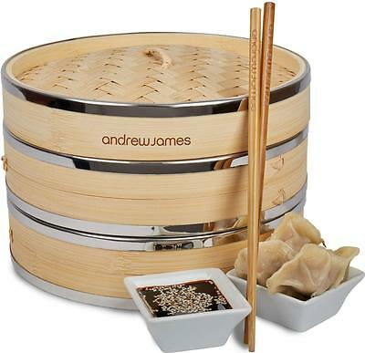 "Andrew James 9"" Banded Bamboo Food Steamer 2 Tier + Chopsticks & Dim Sum Papers"