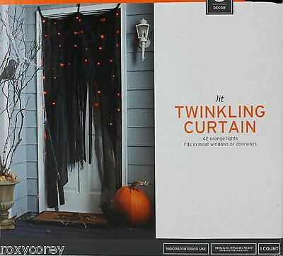 Halloween Lit Twinkling Curtain 42 Orange Lights Windows or Doorways 78x31x7/8