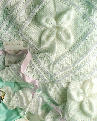 Embossed Leaf Baby Blanket DK~ Mitts & Bootees 4 Ply  Knitting Pattern