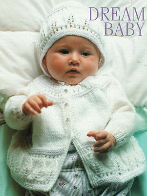 """Embossed Leaf Baby Matinee Jacket & Bonnet 4 Ply 16"""" - 22""""  Knitting Pattern"""
