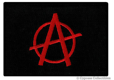 ANARCHY FLAG PATCH embroidered iron-on RED A PROTEST Anarchist PUNK ROCK EMBLEM