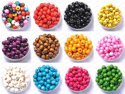 100Pcs Wooden Spacer Round High Glossed Beads Jeweller 6MM 8MM 10MM 12MM 14MM