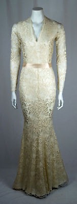 ebdefd7605 Baylis Knight Low Cut Cream Nude Lace FISHTAIL Long Sleeve Maxi Dress Gown  Dita