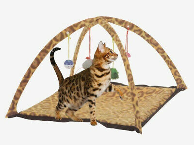 Leopard Print Pet Cat Activity Play Tent Toy Bed Pad Dog Blanket Mat House Bells