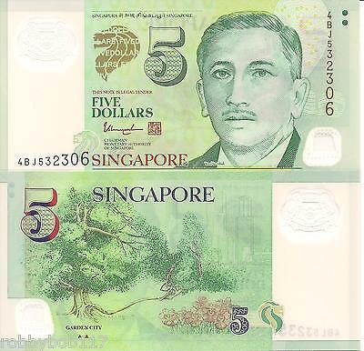 SINGAPORE 5 Dollars Banknote World Money Polymer UNC Currency Pick p-47 Bill