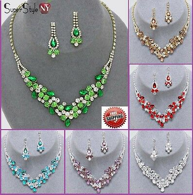 Rhinestone Wedding Bib Crystal Bridal Necklace Flower Leaf Chain Prom Earrings