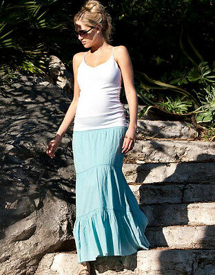 NEW SERAPHINE Maternity Clothes Colette Bohemian Maxi Skirt Tiffany Blue US 10 L