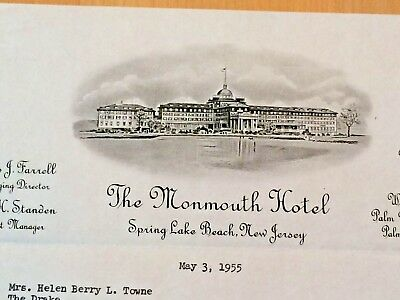 Monmouth Hotel in Spring Lake Beach, New Jersey  LETTERHEAD