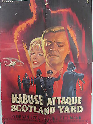 Old 1963 French Movie Poster Mabuse attaque Scotland Yard