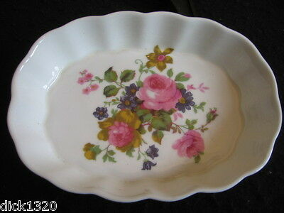 Vintage Crown China Country Rose Fluted Oval Trinket Dish Ex