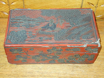 Antique / Old Chinese Red Lacquer Cinnabar Style Box - As Is