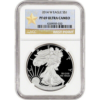 2014-W American Silver Eagle Proof - NGC PF69 UCAM - West Point Star Label