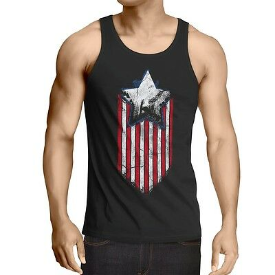 USA Stars Stripes Herren Tank Top Vintage Amerika Hero Flagge Flag Rocker States