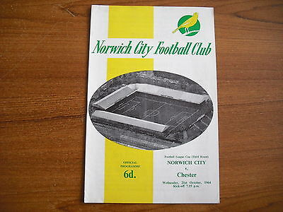 NORWICH CITY v CHESTER - OCTOBER 21st 1964 - LEAGUE CUP 3rd ROUND