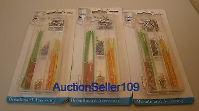 Lot of 3 New Solderless Breadboard Jumper Wire Kit 140 pc.ea. RadioShack 276-173