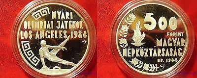 1984 Hungary Large Proof Silver 500 Forint Olympic Gymnast