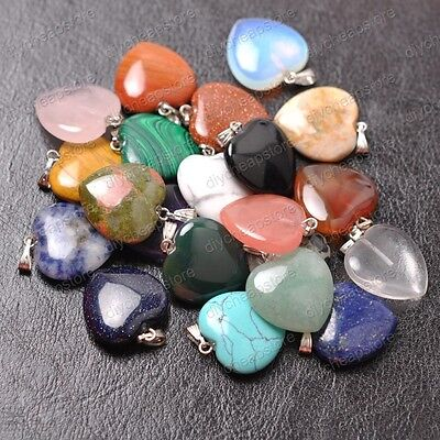 Wholesale Natural heart-shaped Reiki Chakra Pendant Beads Necklac 20MM