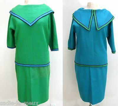 Vtg 60s Mod BIANCA REVERSIBLE KNIT Italian WOOL NAUTICAL SWEATER SKIRT SUIT S/M