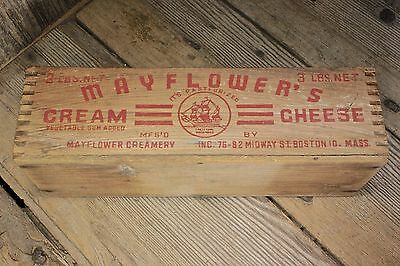 MAYFLOWERS Cream Cheese wood box vintage old sailing ship picture country decor