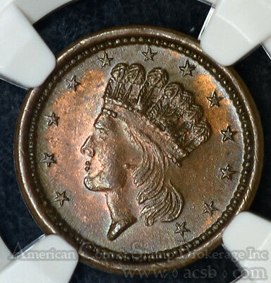 1864 Liberty Head/Union For Ever & Shield MS62 BN NGC F#49/343a Civil War Token