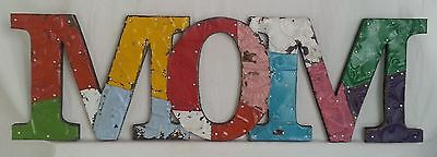 """Vintage Tin Ceiling Patchwork MOM Wall Art 8"""" x 26"""" Metal Multicolor"""