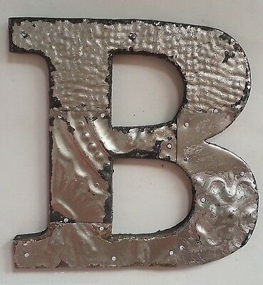 "Antique Tin Ceiling Wrapped 8"" Letter 'B' Patchwork Metal Mosaic Silver"