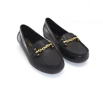 New Women's Ralph Lauren Black Leather Cayla Moccasin Slip-On Shoes Size 7 B