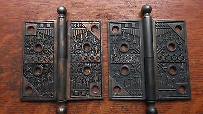 "Two Antique Victorian Fancy Cast Iron Door Hinges 4.5"" c1885 ""Windsor"" Reading"